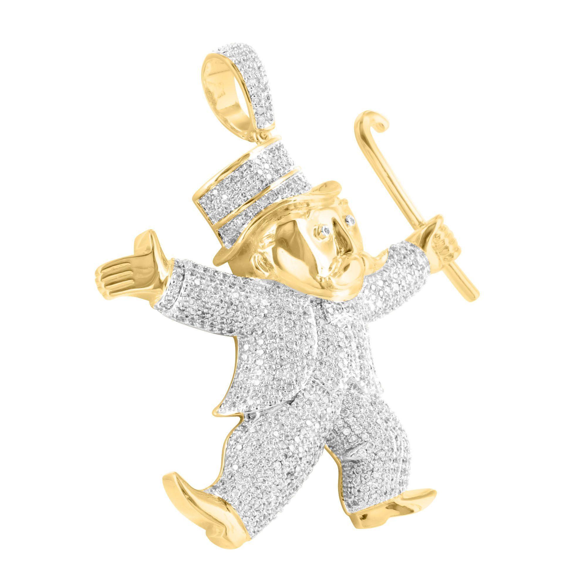 Mr monopoly guy pendant mens 14k gold finish lab diamond aloadofball Images