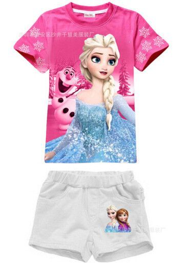 cf3f23182a3b4 Frozen Elsa olaf let it go top tee t-shirt and shorts set cute childrens  clothing