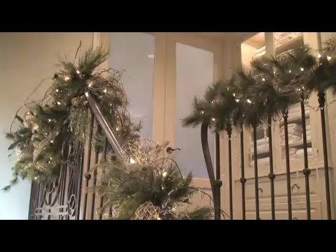 Christmas Decorations And Decorating The Staircase And