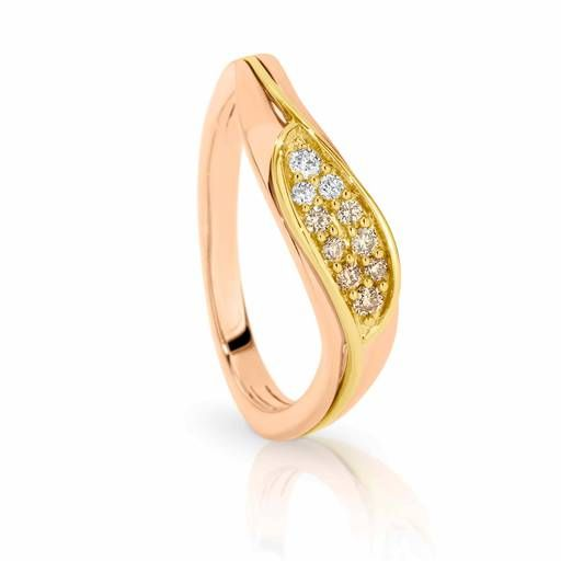 Dreamtime 9ct Yellow and Rose Gold Diamond Wave Stacker