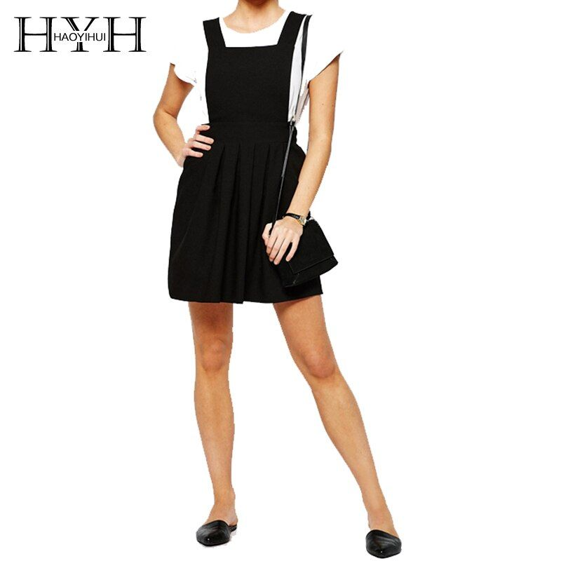 #hyh #haoyihui #2018 #fashion #woman #sweet #college #strap #dress #slim #fit #solid #color #casual #multipurpose #line #pleated #dresses