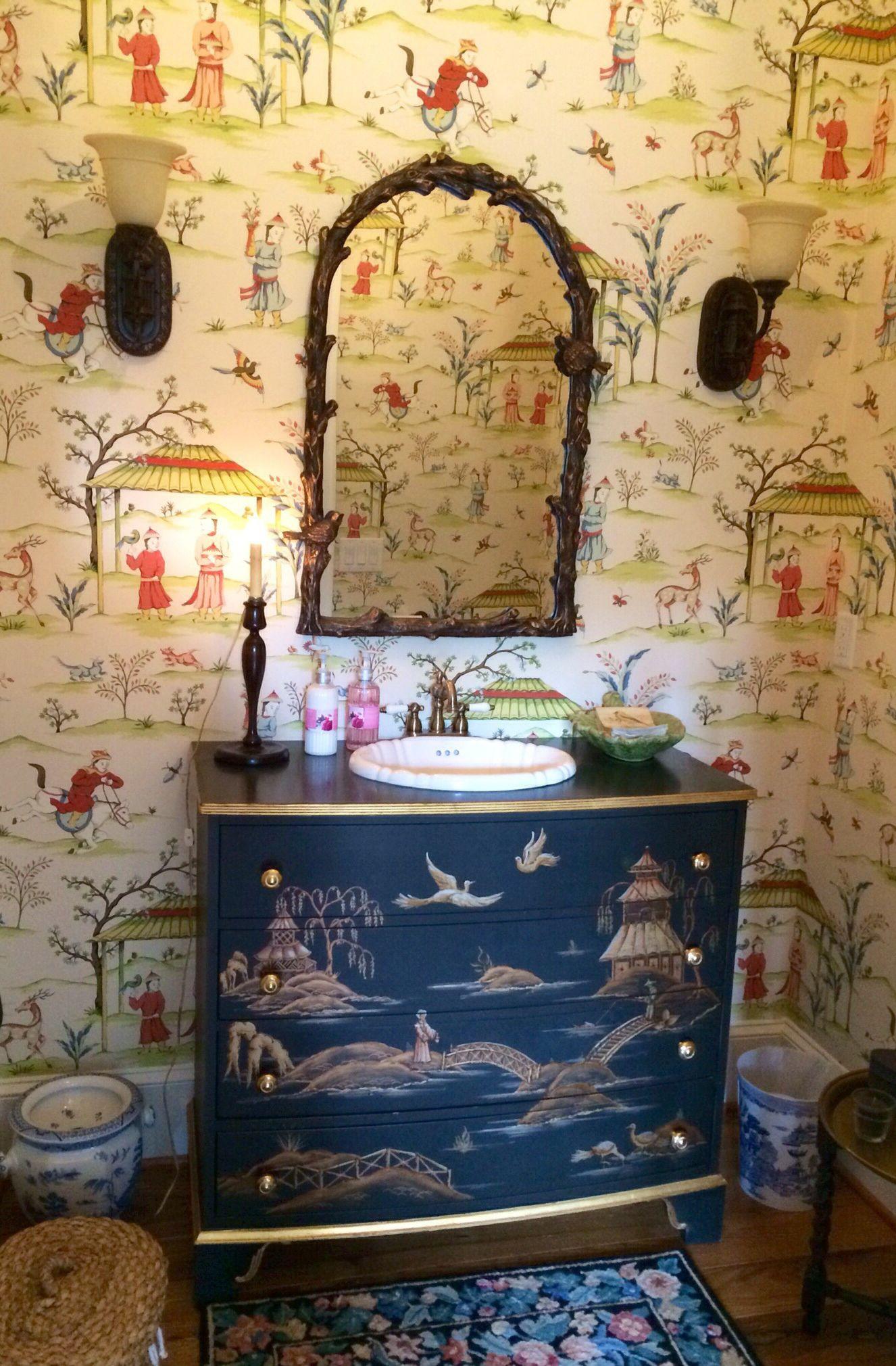 British Colonial Powder Room Thibaut Wallpaper Shangri