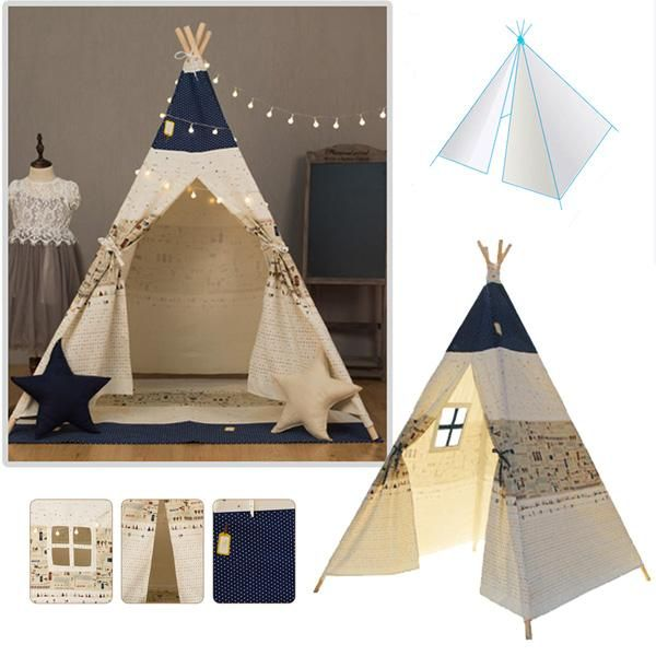 Specification: Material Cotton+Wood Pole Solid timber Age 3+ Assembly required Yes Size 100 x 100 x 160cm / 39.4 x 39.4 x 63inch Diameter 1200mm approx Color Blue & Light Beige Weight 3300g Features: Playful tent for children Made from durable and quality cotton canvas Smooth finishing wooden poles Easy assembly; ready in a minute Side window to check on kids easily All year round play tent Easy entry with tie down doors Comes with colour-matching floor mat and storage bag Suitable for child