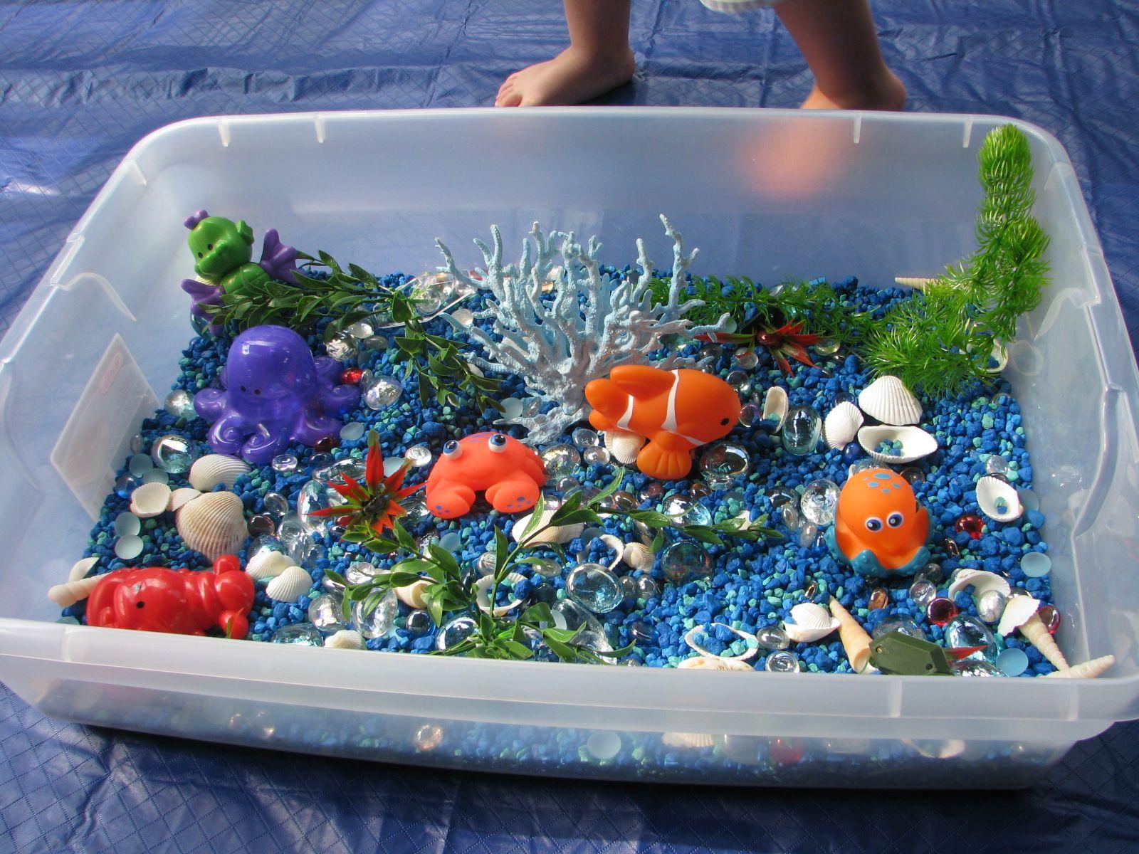 Great Idea For Life In The Ocean Sensory Bin Blue