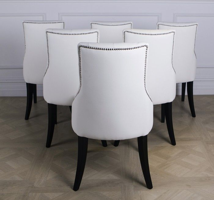 Black Orchid Luxury White Leather Dining Chair