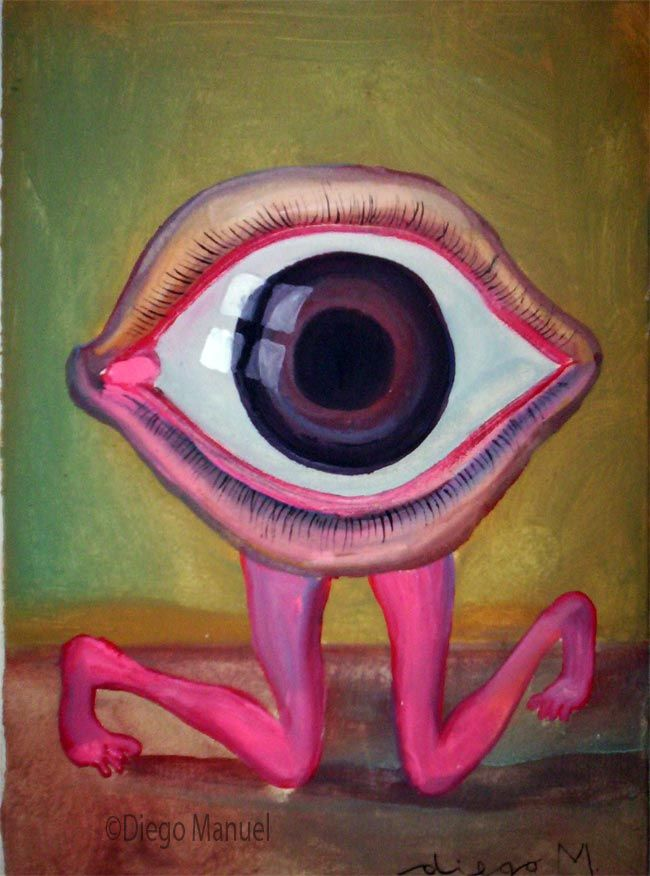 ojo de rodillas. Painting of the Serie Surrealism for sale by artist Diego Manuel