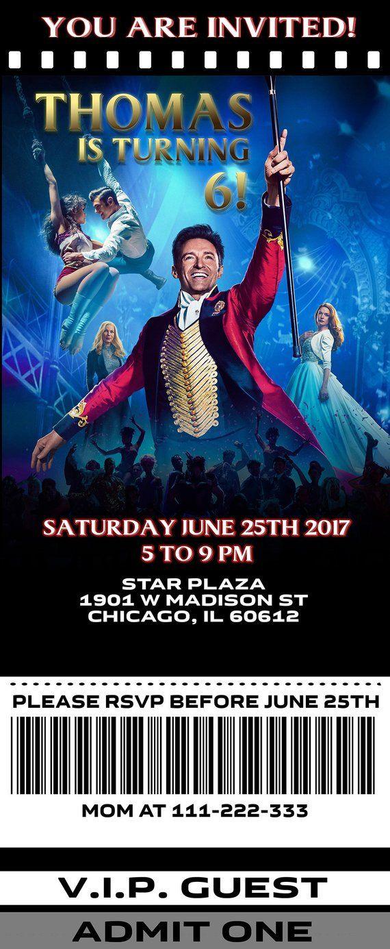 The Greatest Showman Birthday Party Invitation Card Party Invitations Kids Movie Party Invitations Circus Birthday Party Theme
