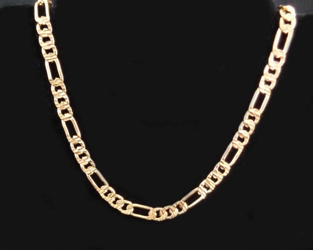 Gold Figaro Chain 20 inch 6mm 24k Yellow Gold Plated Necklace Chain