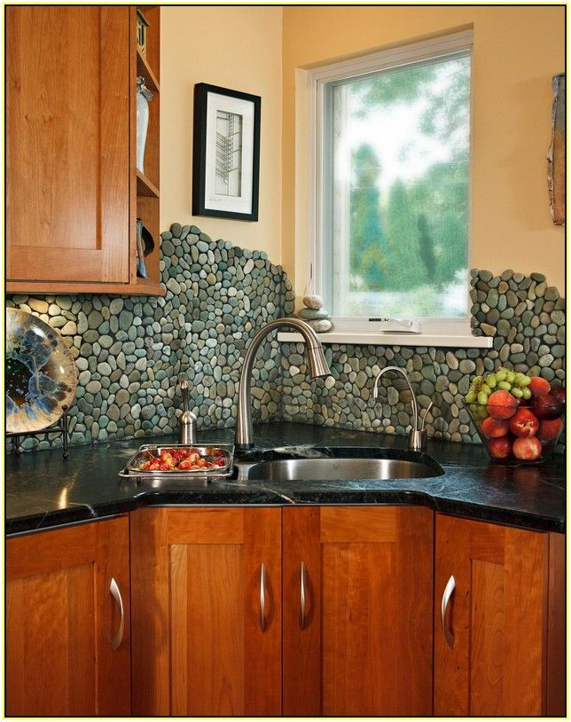Representation Of River Rock Tile Sheets Diy Kitchen Backsplash