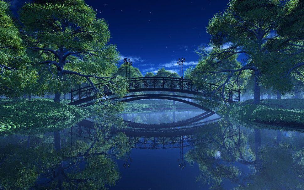 Landscape, park, river, bridge, trees, lights, night
