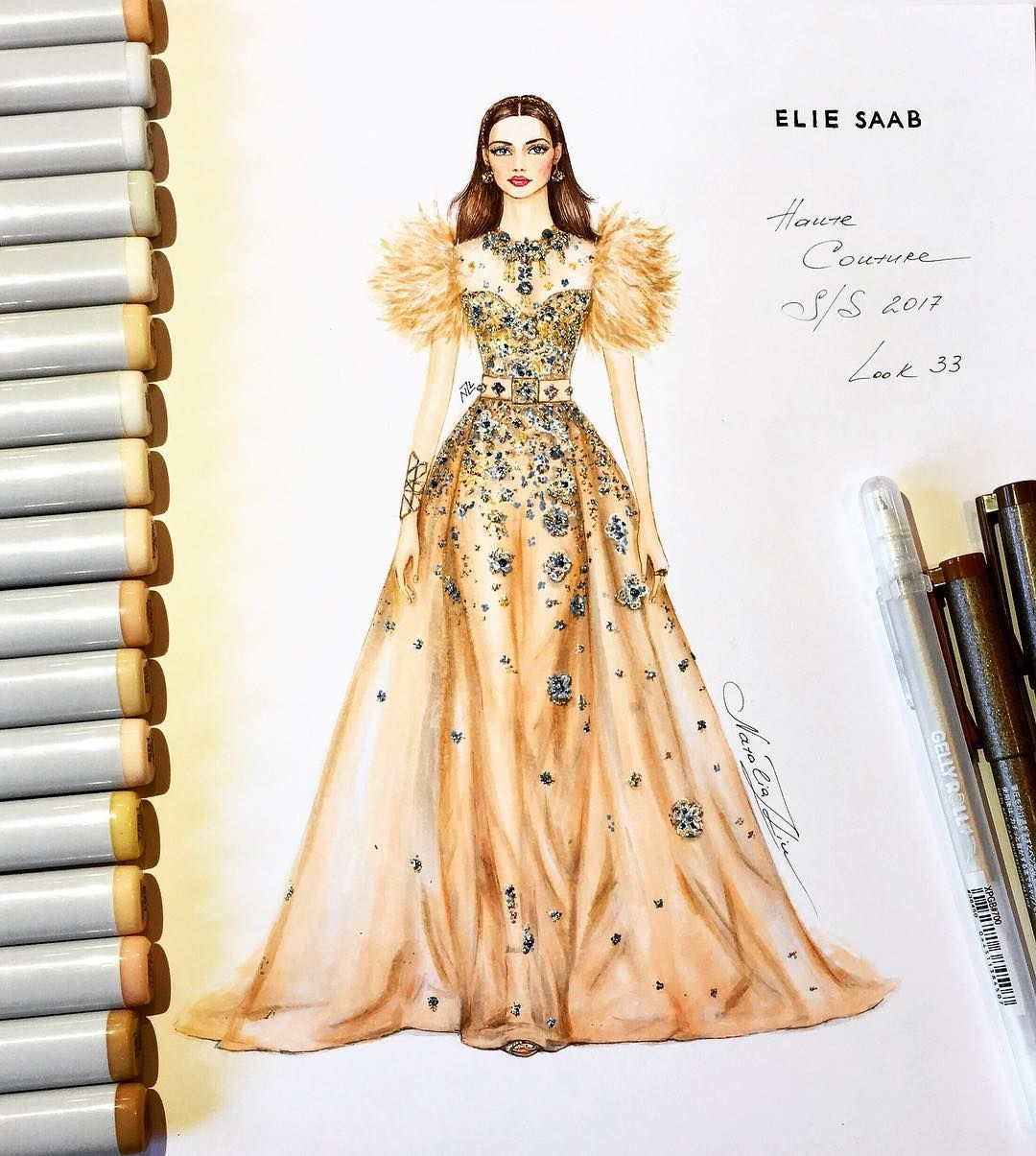 Luxurious Elie Saab Couture Gown Haute Couture Collection Spring Summer 2017 Fashion Illustration Dresses Fashion Drawing Dresses Fashion Sketches Dresses