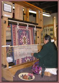 Helen Kirk Hubble Weaving A Rug On Large Navajo Style Loom
