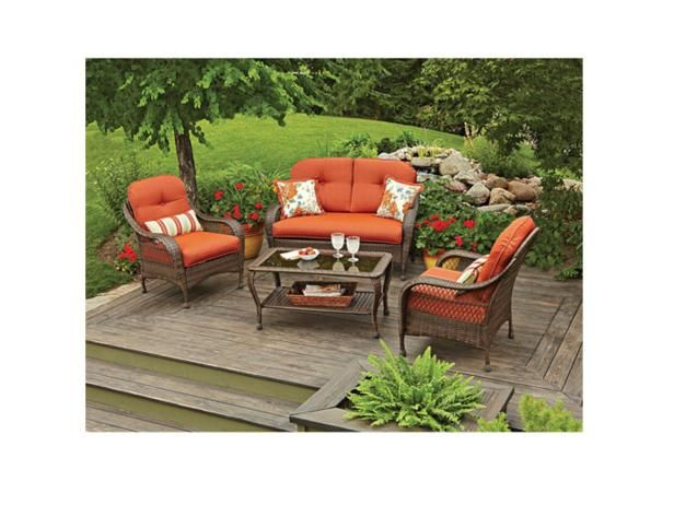Better Homes and Gardens offers this  patio conversation set  for a good price with an eye-catching design.