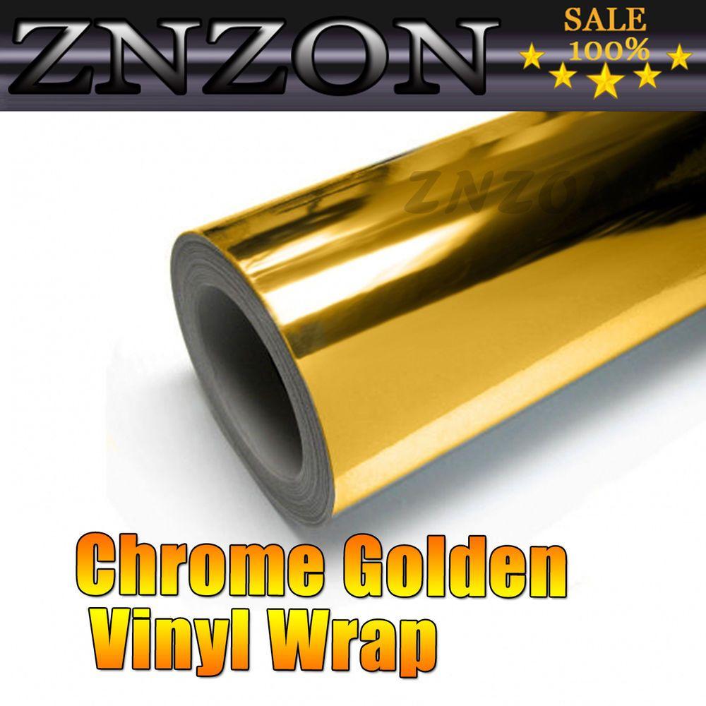 Gold Chrome Mirror Vinyl Wrap Film Car Sticker Decal with Air Bubble Free