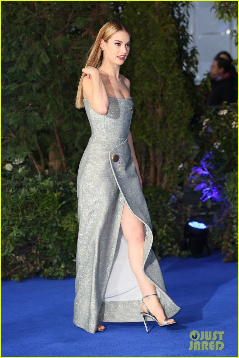 Lily james small waist irrelevant lily james dons a strapless