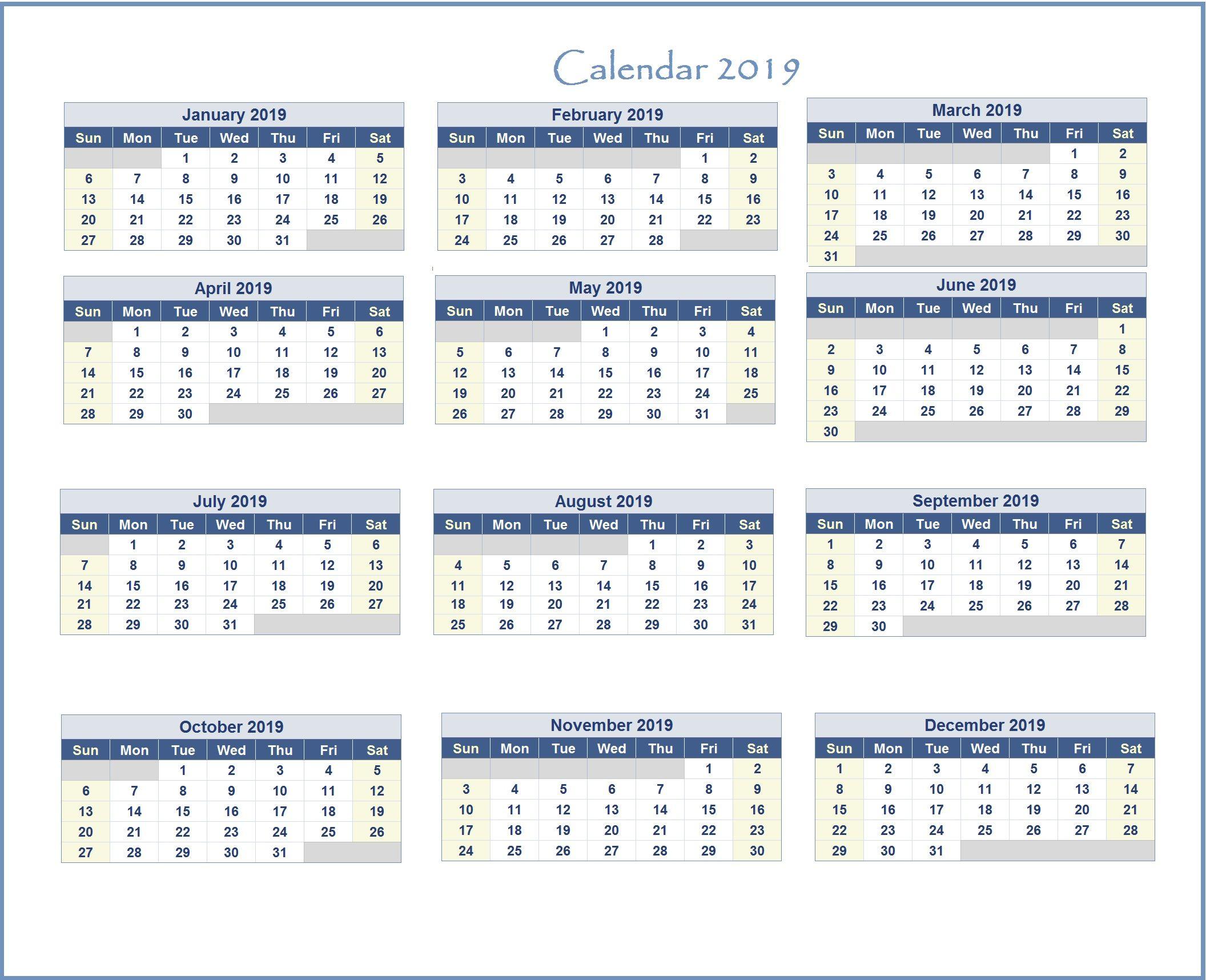 Free Excel Calendar 2019 2019 Excel Calendar | Monthly Calendar Templates | Excel calendar