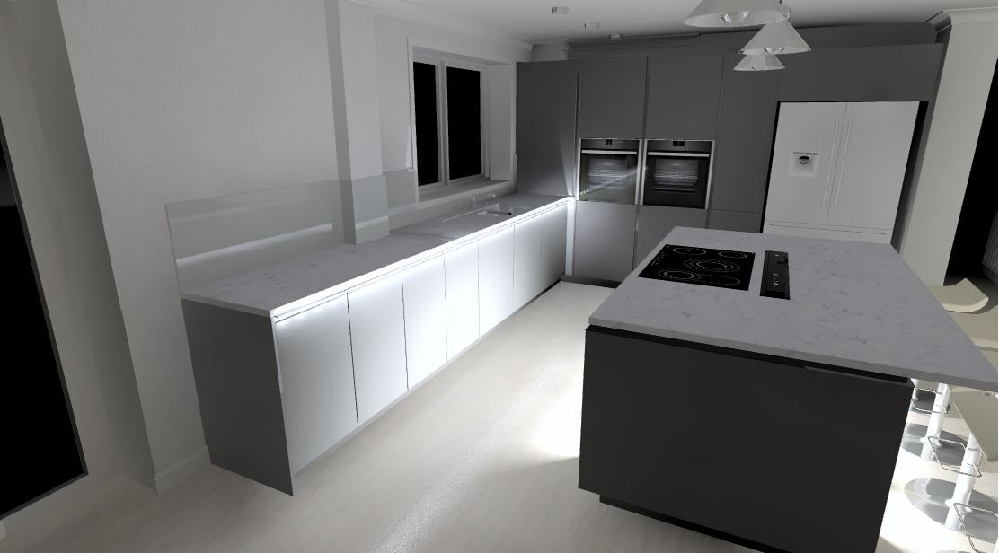 Best 6000 Lava Grey Kitchen With Silestone Worktops Downdraft 400 x 300