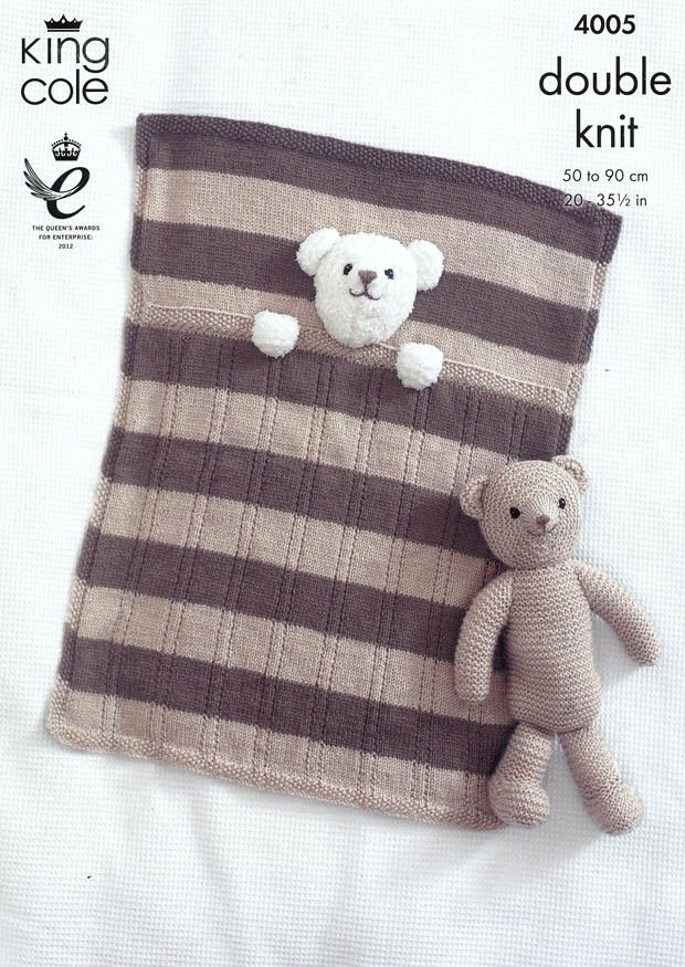 Baby Blankets and Teddy Bear Toy in King Cole DK (4005 ...
