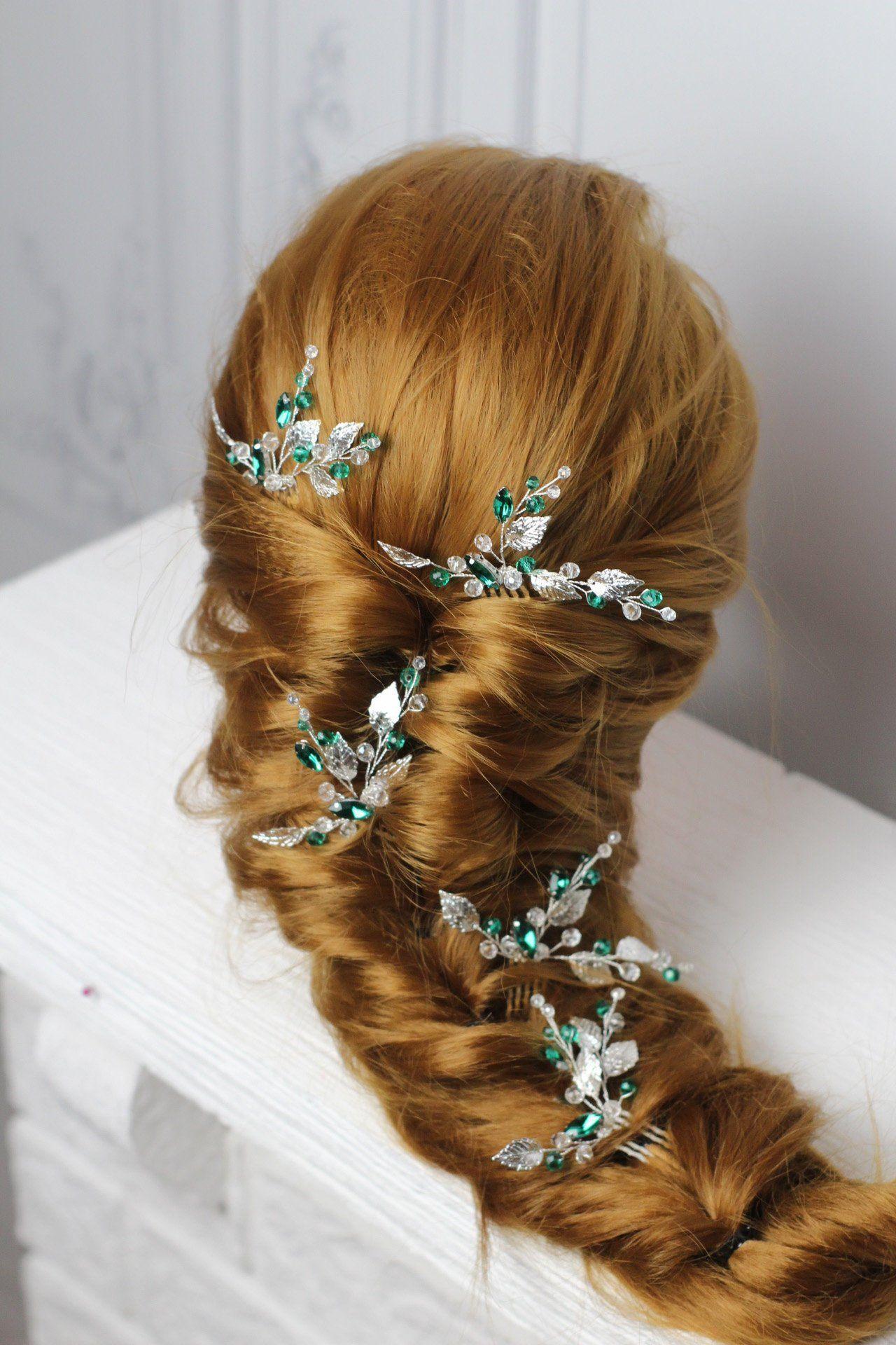 Branch hair pins bridal hair comb crystal hair comb small