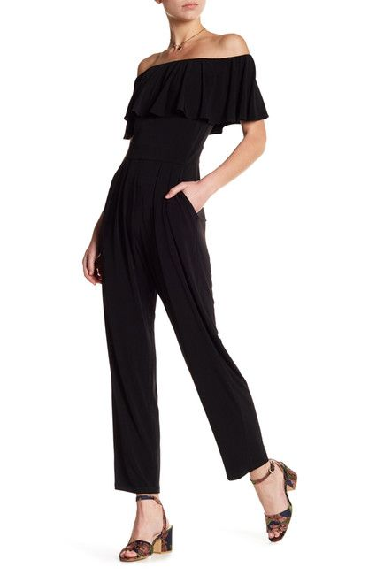 Image of Vince Camuto Off-the-Shoulder Ruffle Top Jumpsuit