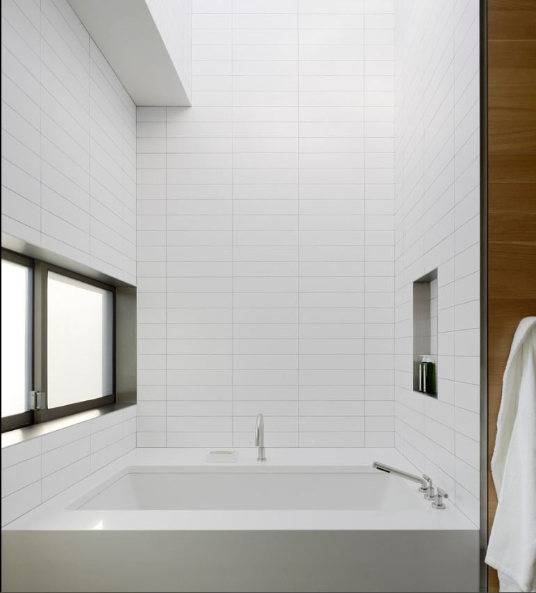 White glass 4 x 12 subway tile pinterest clean for Large glass tiles for bathroom