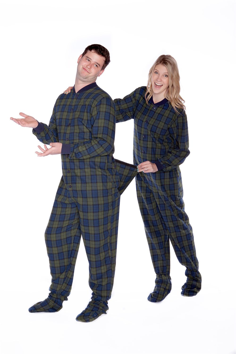 8a55d7fa1c17 Flannel Adult Footed Pajamas in Navy Blue and Green