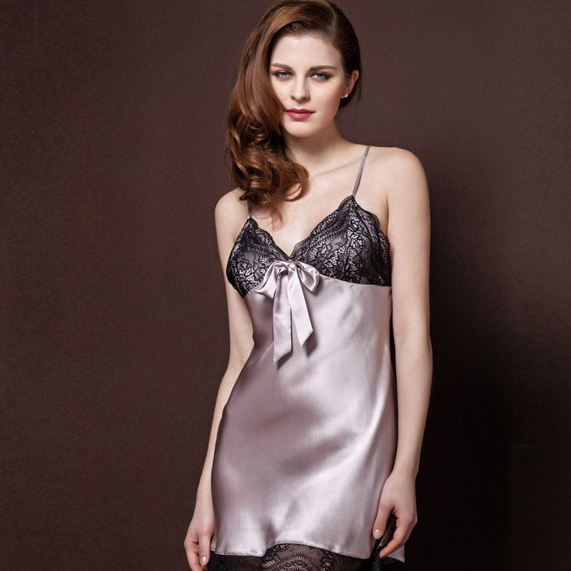 Womens Sexy Stain Silk Spaghetti Strap Nightgown Comfortable Female  Sleepshirts Home Lounge Clothes Sleepwear Pijamas 0a2244cd9