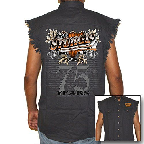 Biker Life USA Men's 2015 Sturgis 75 Years Cutoff Denim 26.99 http://bikeraa.com/biker-life-usa-mens-2015-sturgis-75-years-cutoff-denim-2/