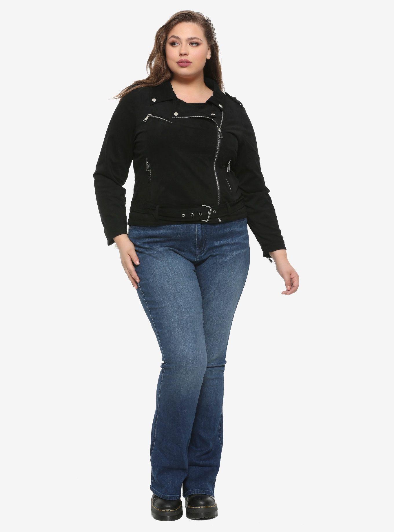 Black Faux Suede Girls Moto Jacket Plus Size in 2020