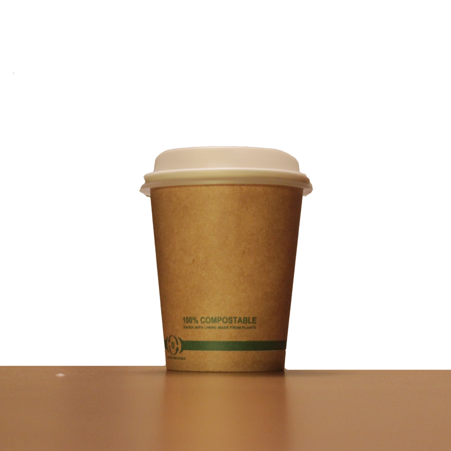 8oz Brown Compostable Paper Cup with Lid (Pack of 100, 250