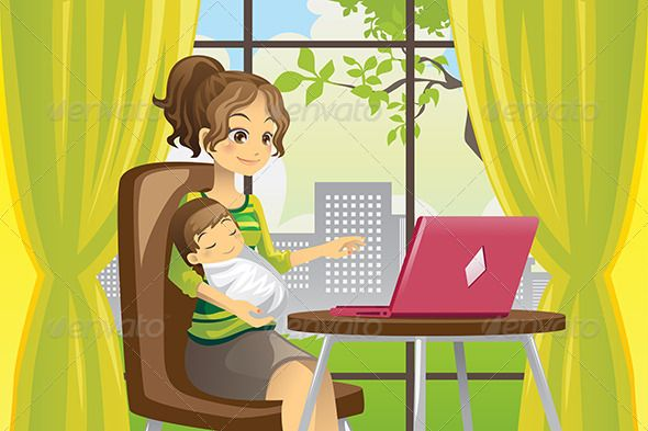 Mother and Baby using Laptop GraphicRiver A vector