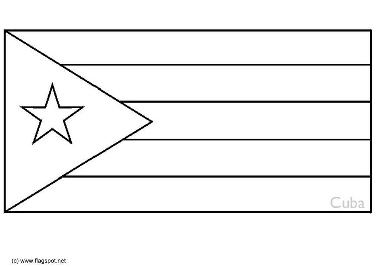 cuban flag coloring page - Flag Coloring Pages