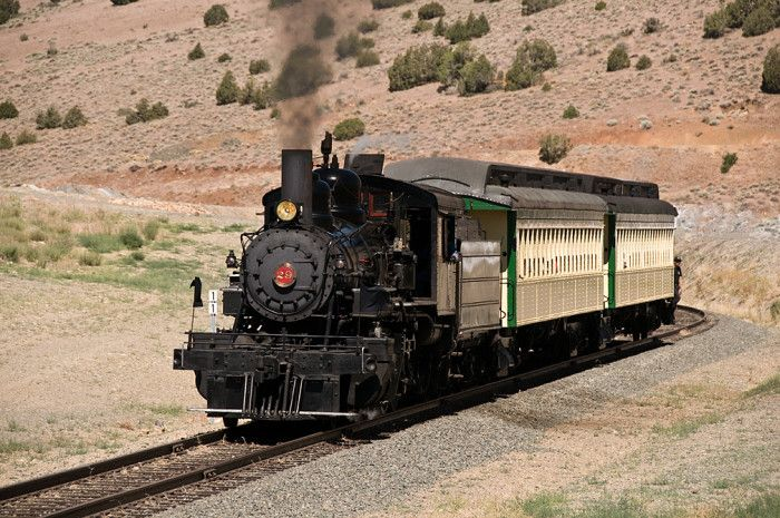 T – Trains. There are many places in Nevada that feature trains and/or offer train rides. The Nevada Northern Railway Museum, located in Ely, is a popular attraction among train enthusiasts.