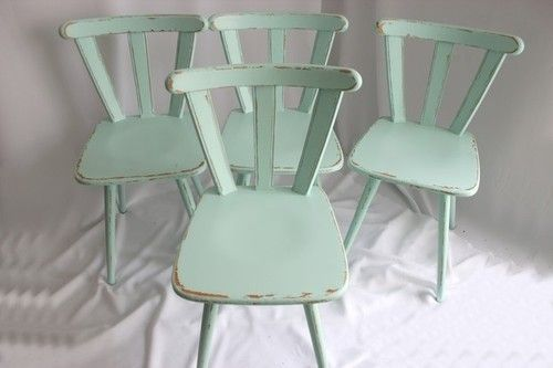 sea green shabby chic chairs