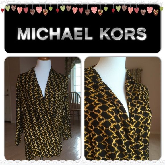 ❤️MOMS DAY SALE❤️ HP Longsleeves VNeck Blouse Color: black/multi. Chain design. Vneck, longsleeves. 95% rayon, 5% spandex. MICHAEL Michael Kors Tops Blouses