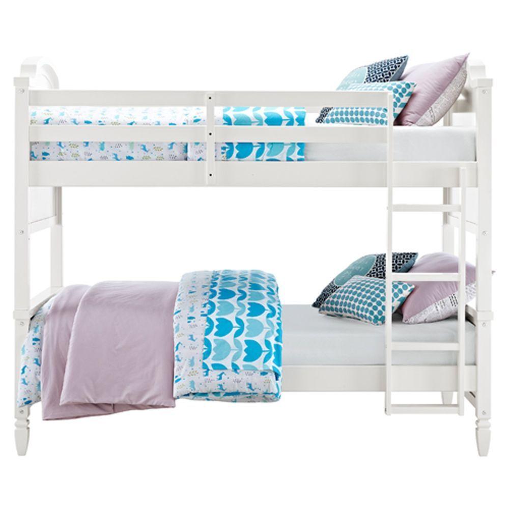 Girls Bedroom White Twin Bunk Beds Over Twin Hardwood Frame Ladder
