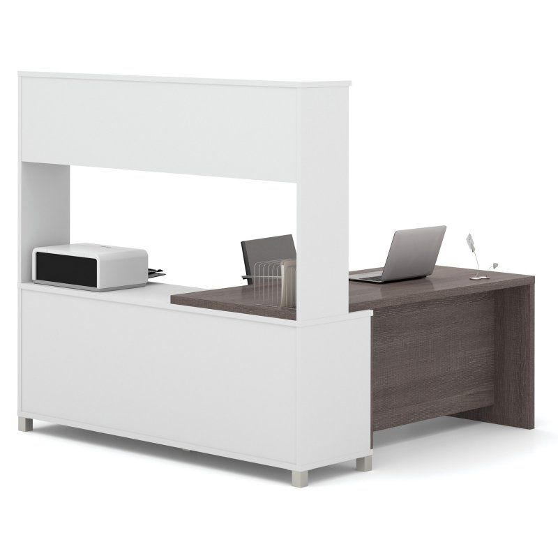 Bestar Pro Linea L Shaped Desk With Metal Legs And Hutch