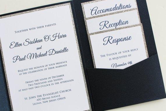 Navy and Silver Metallic Pocketfold Wedding Invitation with Monogram