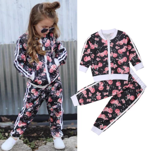 US Toddler Infant Baby Boy Girl Sweatshirt Top Pants Tracksuit Outfit Clothes