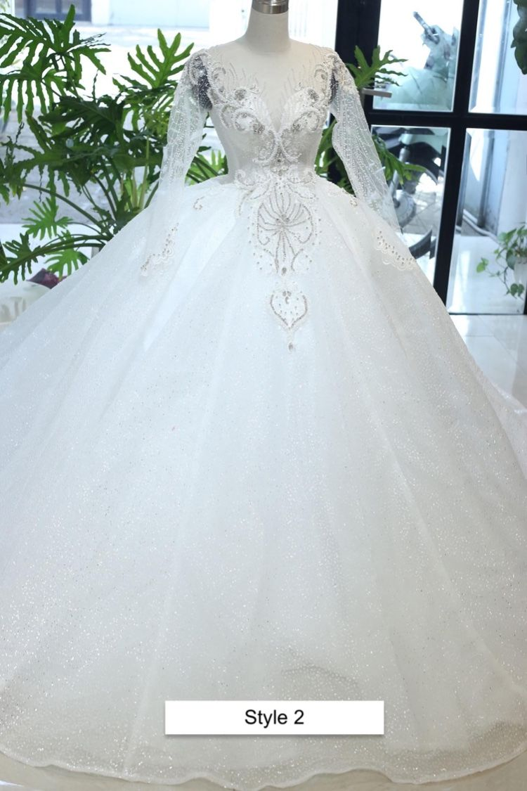 Long Sleeves White Sparkly Beaded Bodice Ballgown Wedding Dress With Glitter Tulle Various Styles Ball Gown Wedding Dress Wedding Dresses Ball Gowns [ 1125 x 750 Pixel ]