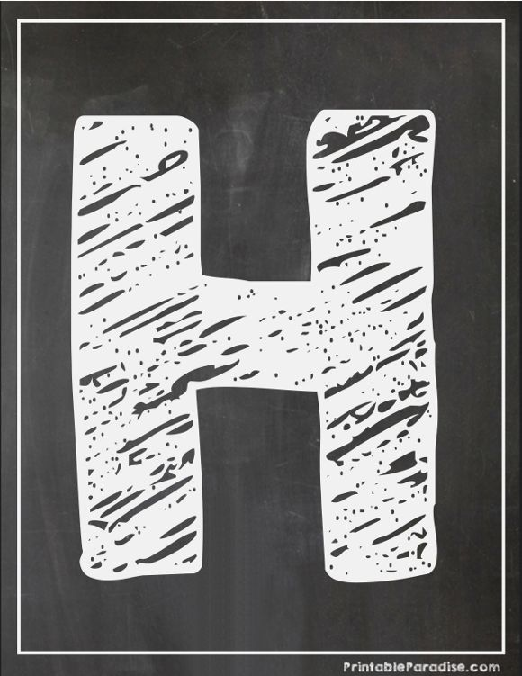 Printable Letter H Chalkboard Writing