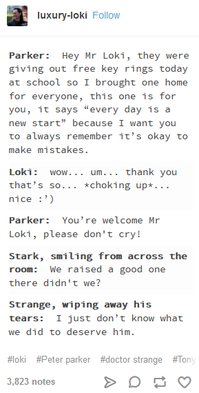 Photo of Tony and Strange as fathers and Loki as uncle… ?‍?‍?