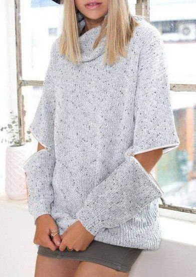 936a8e215a Fall Sweater Grey Cowl Neck Oversized Knit Sweater