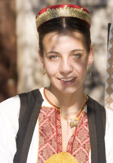 A Croatian woman in her traditional dress