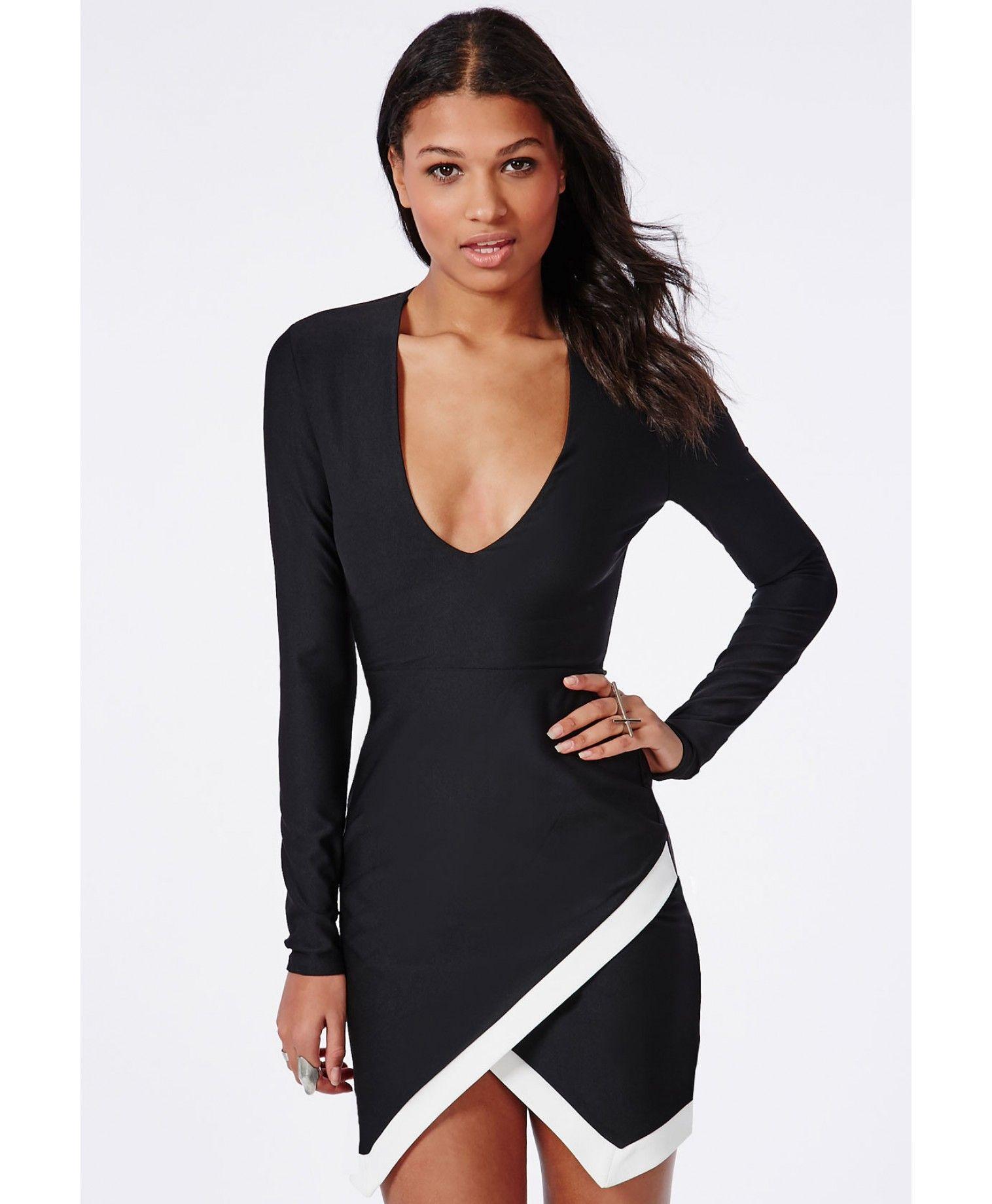 fc51f13383ba Plunge Long Sleeve Wrap Hem Mini Dress Black - Dresses - Mini Dress -  Missguided