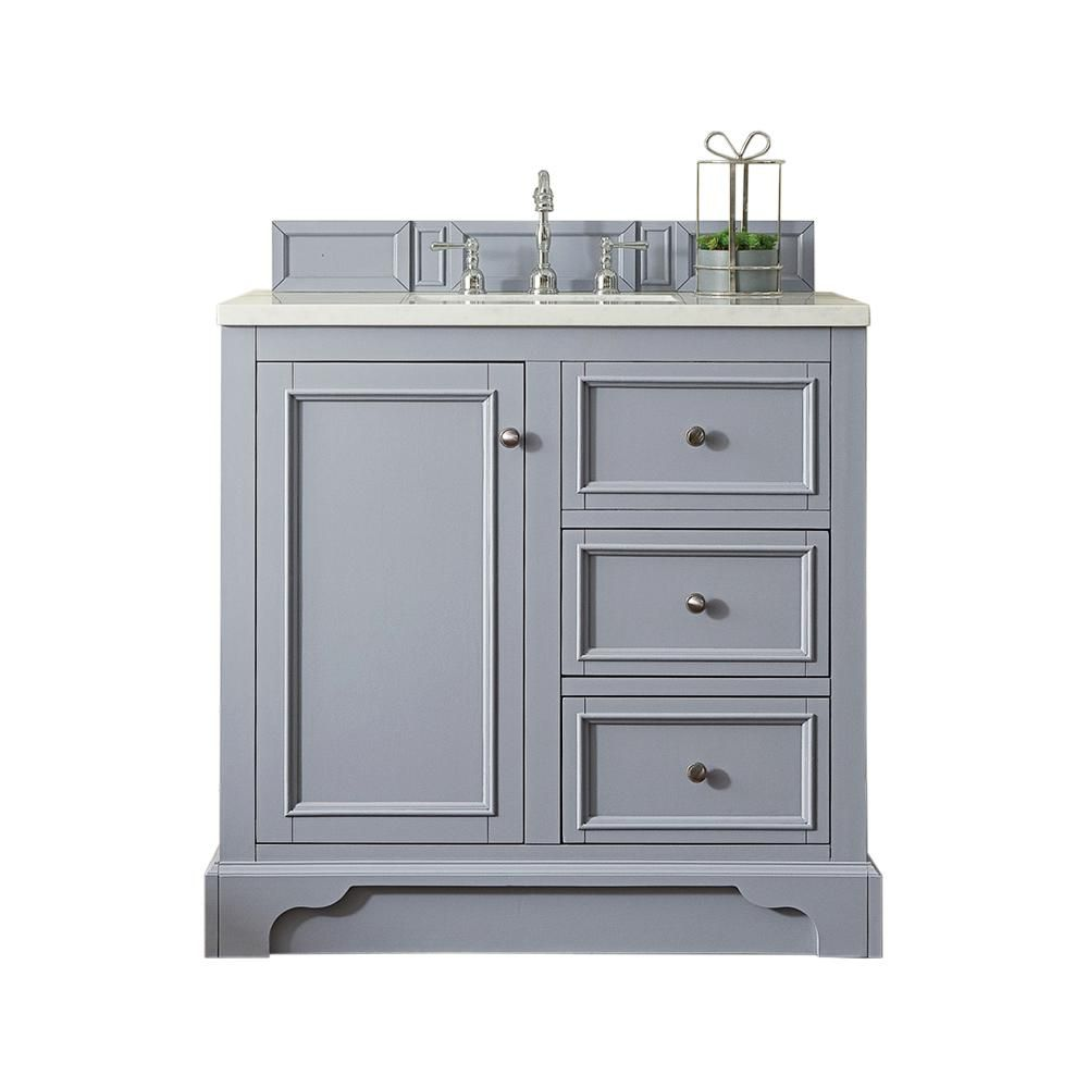 James Martin Vanities De Soto 36 In W Single Bath Vanity In Silver Gray With Marble Vanity Top In Carrara White With White Basin 825v36sl3car The Home Depot Single Sink Vanity