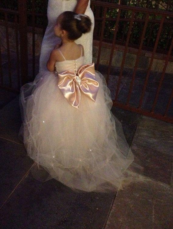 f228b894c Flower Girl Dress - Lace Dress - Girls Lace Dress - Big Bow Dress ...