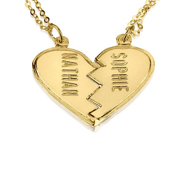 Gold broken heart necklace couples 18k gold plated engraved personalized gold broken heart necklace couples 18k gold plated engraved necklace split heart charm pendant necklace 2 names necklace aloadofball Gallery