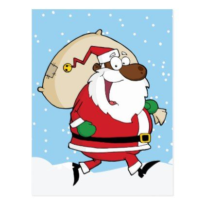 Does Usps Run On Christmas Eve.African American Santa Running With Gifts Holiday Postcard