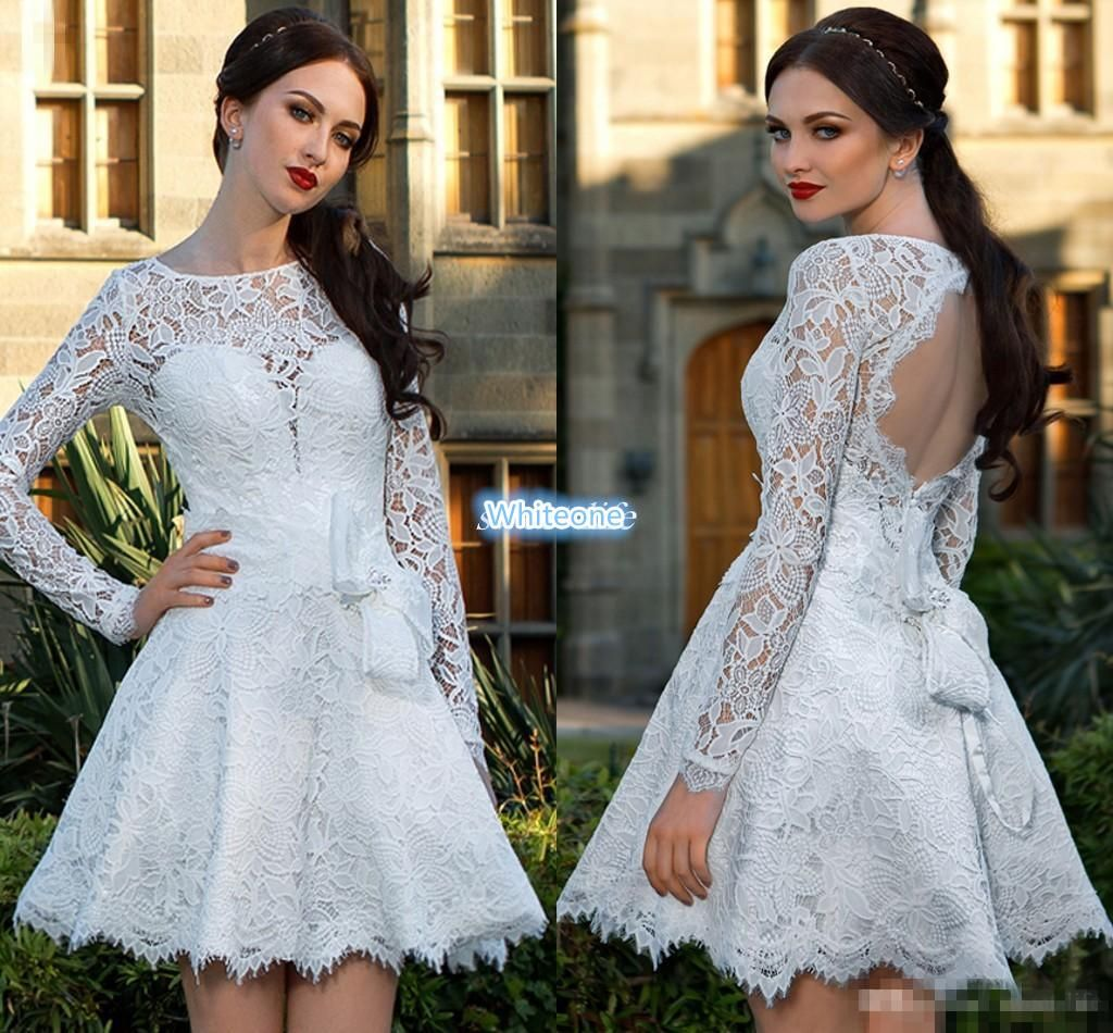 Shot mini full lace wedding dresses with long sleeves backless sheer